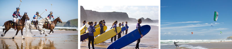 Sports on the beach at Watergate Bay Hotel Cornwall