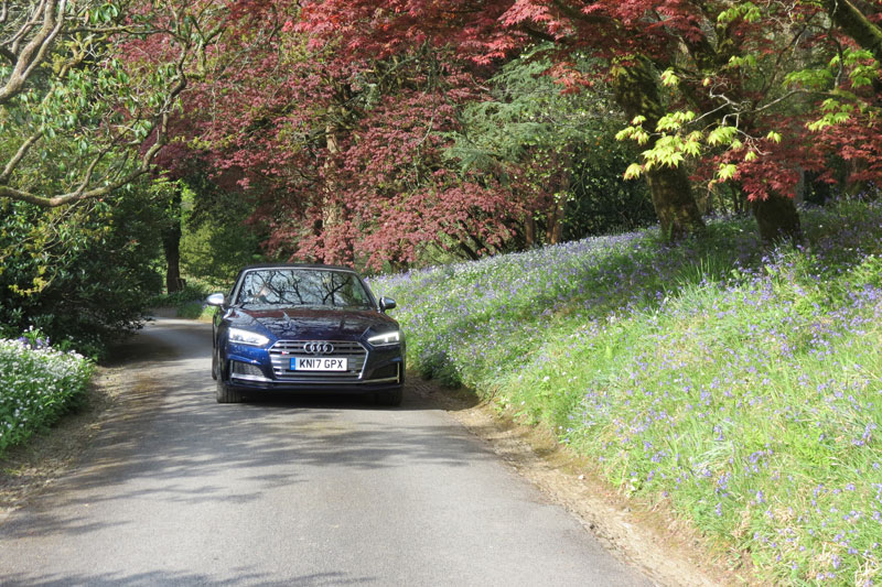 The Audi S5 Cabriolet driving through the grounds of Hotel Endsleigh