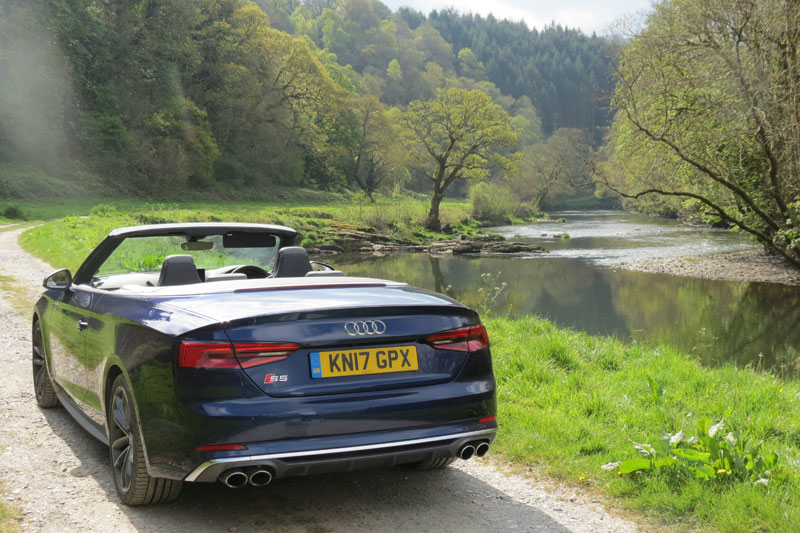 The Audi S5 Cabriolet alongside the River Tamar flowing through the grounds of Hotel Endsleigh