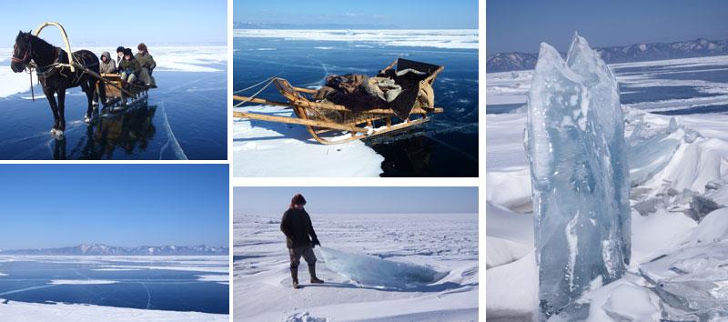 Frozen Lake Baikal crossed by Antony Johnson and party
