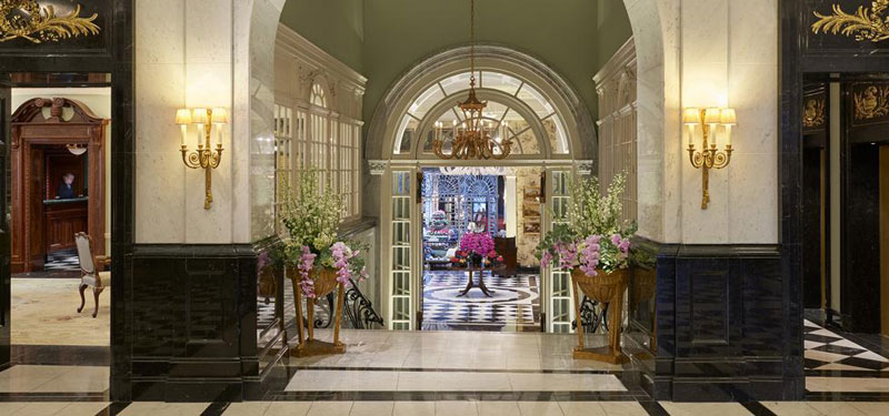 The marble lobby of The Savoy London