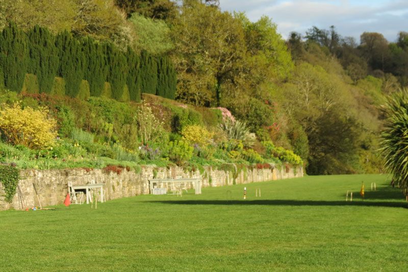 The croquet lawn at Hotel Endsleigh just below the 100 metre rose walk