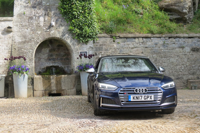 The stable block at the Hotel Endsleigh and the Audi S5 Cabriolet