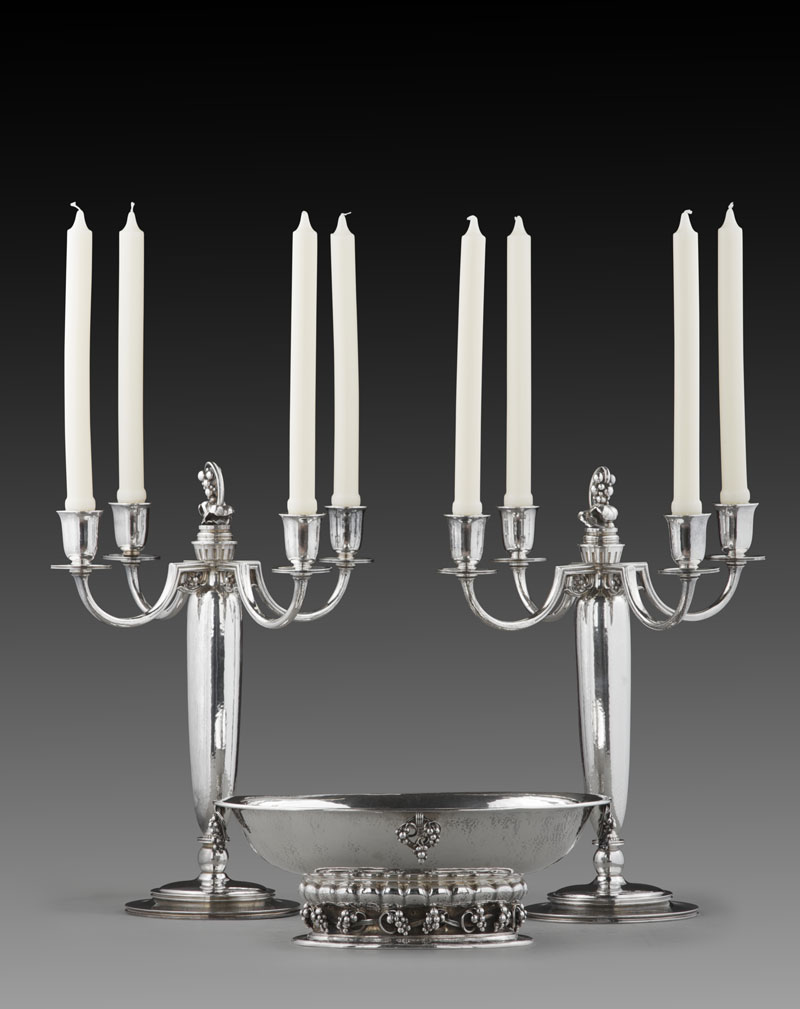 The Silver Fund Georg Jensen Five Light Candelabra and Centerpiece Bowl