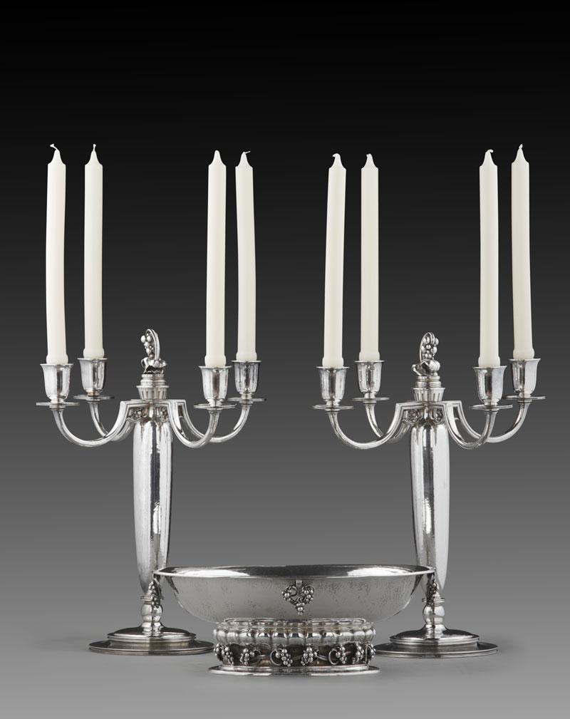 The Silver Fund Georg Jensen Five Light Candelabra and Centerpiece Bowl