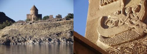 Turkey Island of Akdamar church and biblical scene