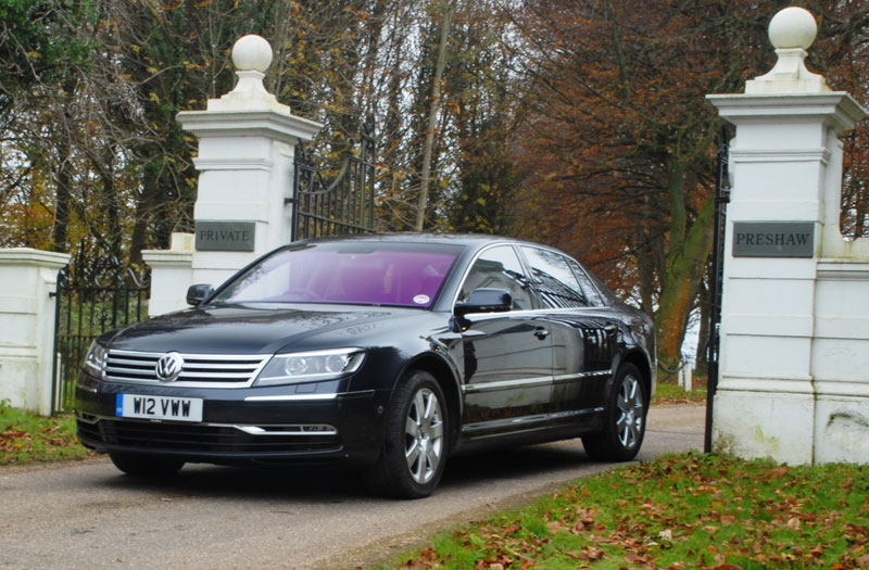 VW Phaeton at gates to Preshaw Estate