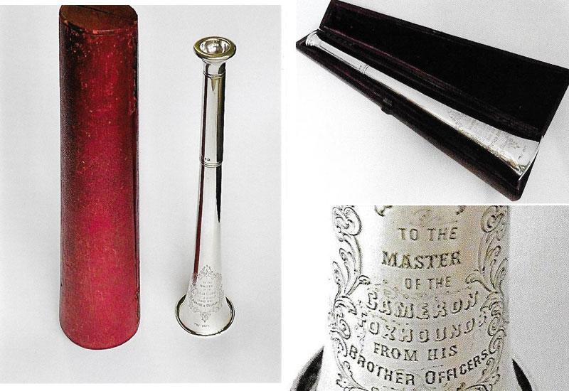 Victorian Hunting Horn complete with original red leather case by Edward Pairpoint 1868