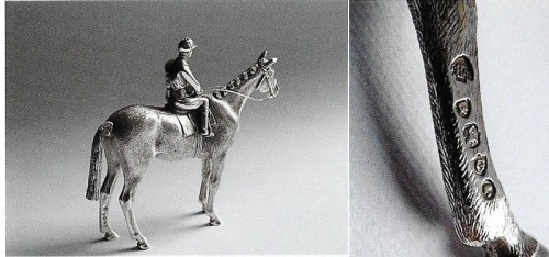 Rare Victorian cast Pepper modelled as a jockey probably Fred Archer on horseback by William and John Barnard 1882
