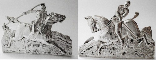 Rare pair of late Victorian cast place card holders modelled as polo players by Samuel Jacob 1899
