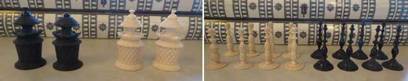 Vizagapatam Ivory and Horn Chess and Backgammon Set pawns and rooks