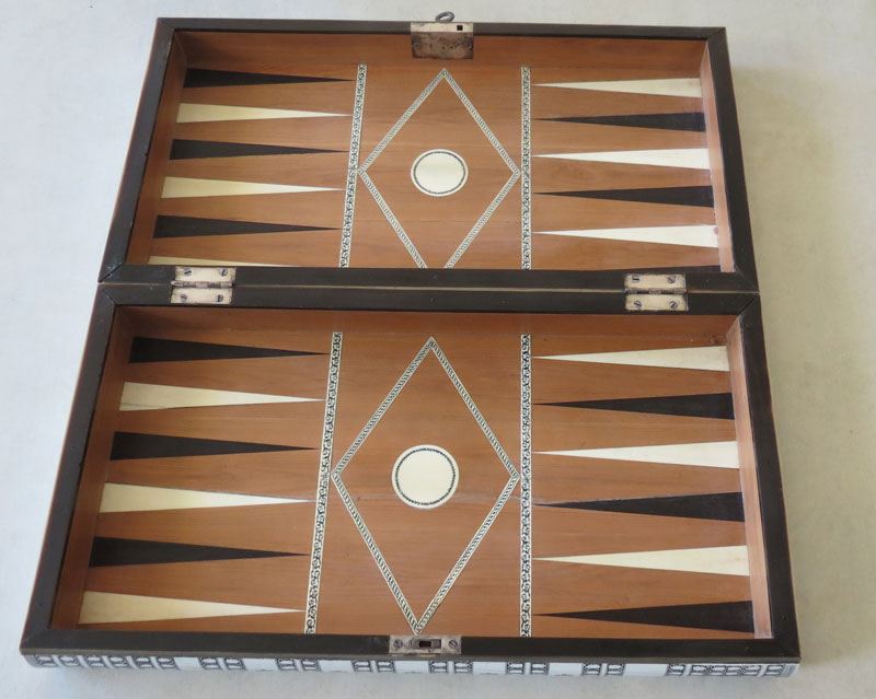 Vizagapatam outer box opened to display backgammon board inlaid with sandalwood ivory and horn
