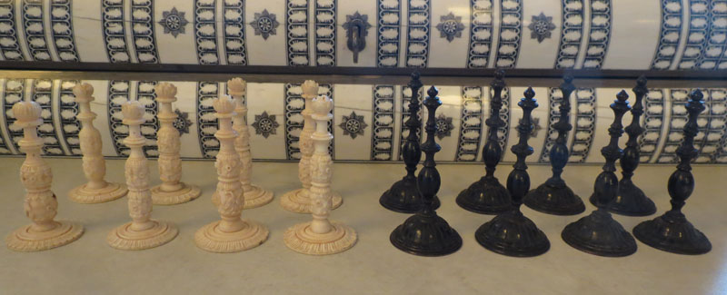 Vizagapatam ivory and horn pawns