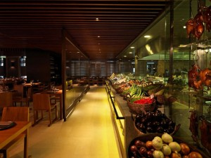 The Asian Restaurant at Novikov with its display of fresh fruit and vegetables