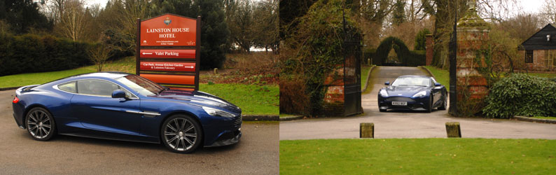 Aston Martin Vanquish arrives at Lainston House
