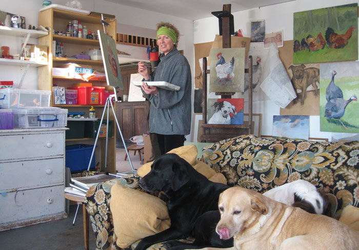 FankieCranfield in her Studio with her Faithful Friends