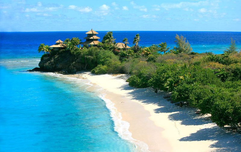 Necker Island beach and cliff