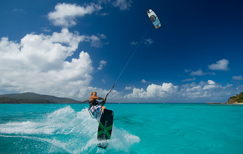 Necker Island kite surfing
