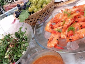 Plate of Prawns and Grapes