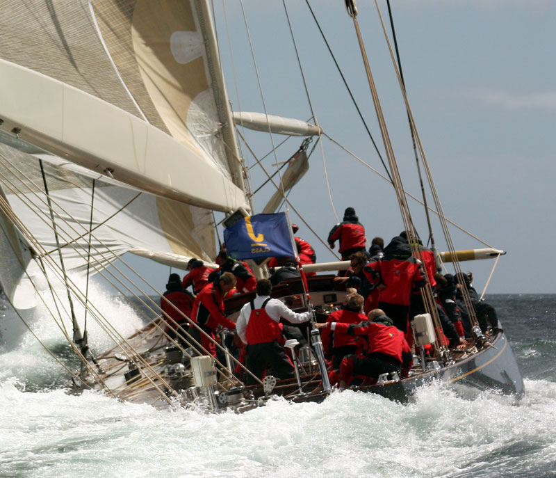 The grand old Velsheda, rejuvenated and very competitive in modern regatta action