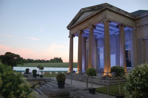 The Grange Park Portico lit as night falls