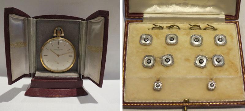 Vacheron and Constantin Pocket Watch and Garrards Art Deco Cufflinks and Buttons Set