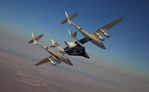 Whiteknighttwo and Spaceshiptwo in full flight